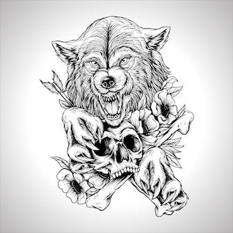 Illustratie kunstwerk vintage gravure wolf schedel bloem hand tekenen