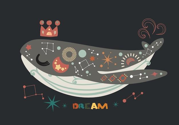 Illustratie l boheemse stijl met walvis Premium Vector