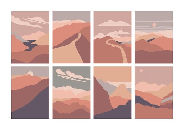 Illustratie landschap berg uitzicht op de rivier