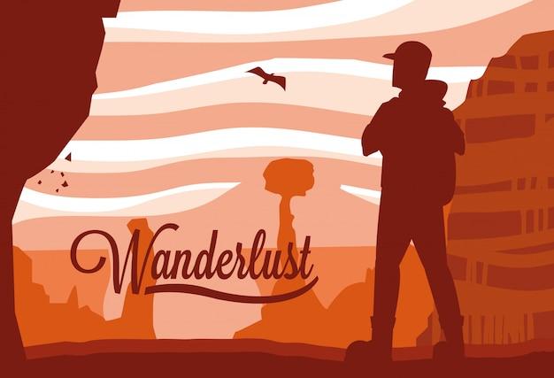 Illustratie landschap woestijn met reiziger reislust
