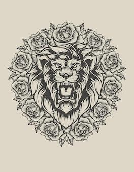 Illustratie leeuwenkop met roze bloem zwart-wit stijl