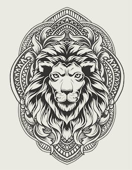 Illustratie leeuwenkop met vintage gravure ornament