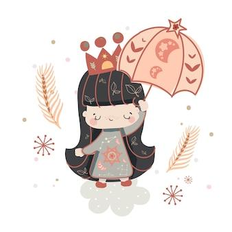 Illustratie lijn pop art collectie boheemse stijl met regenboogelementen