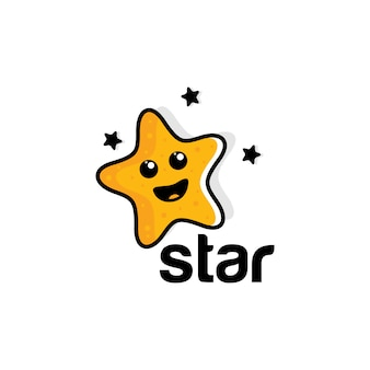 Illustratie logo van grappige lachende sterren.
