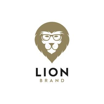 Illustratie logo van leeuwenkop met bril, dier logo