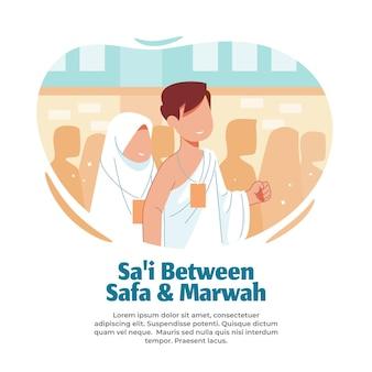 Illustratie loopt tussen safa en marwah