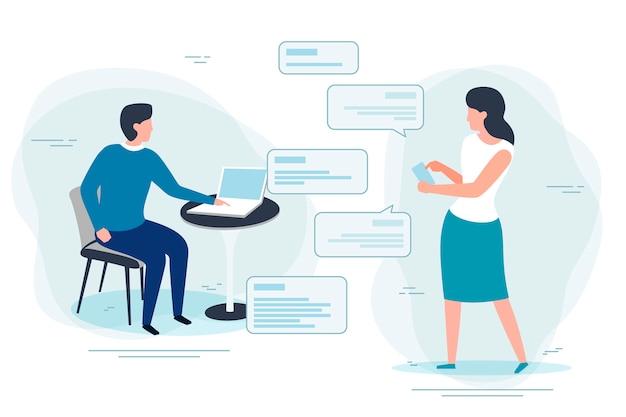 Illustratie, man notebook chatten met vrouw met telefoon. banner, poster sjabloon met.