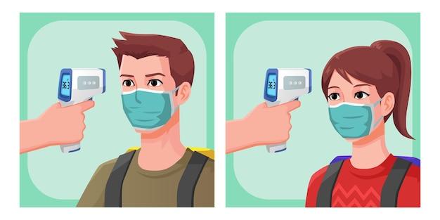 Illustratie mannen en vrouw reiziger, lichaamstemperatuur controleren met behulp van thermo-pistool, hoge kwaliteit afbeelding