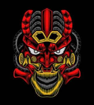 Illustratie masker mecha schedel