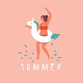 Illustratie meisje met eenhoorn reddingsgordel klaar om te zwemmen. zomer.