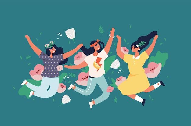 Illustratie meisjes springen met bloemen en bloesem, bladeren. gelukkige vrouw die geniet.