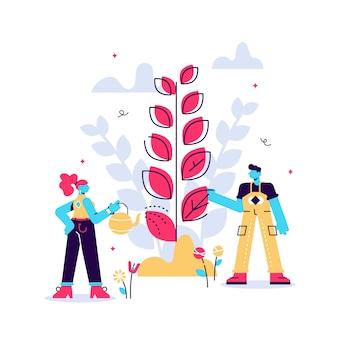 Illustratie. mensen kweken planten, doen landbouwwerk - water geven, verzamelen, planten, wereldmilieudag, bio-technologie, groene planeet, wereldbol met bomen die erop groeien, ecologie, co-systeem.
