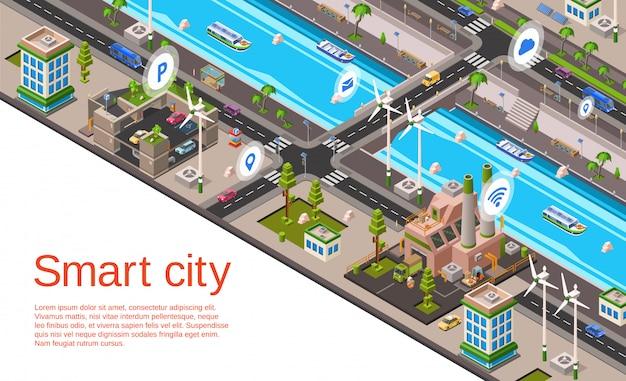 Illustratie met 3d gebouwen, straatwegen met autonavigatiesysteem