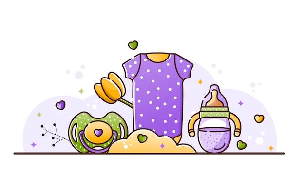 Illustratie met babyaccessoires
