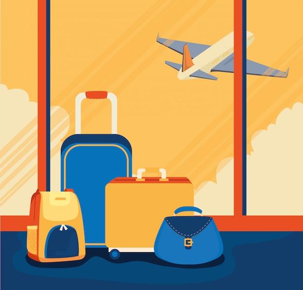 Illustratie met bagage en vliegtuig reizen