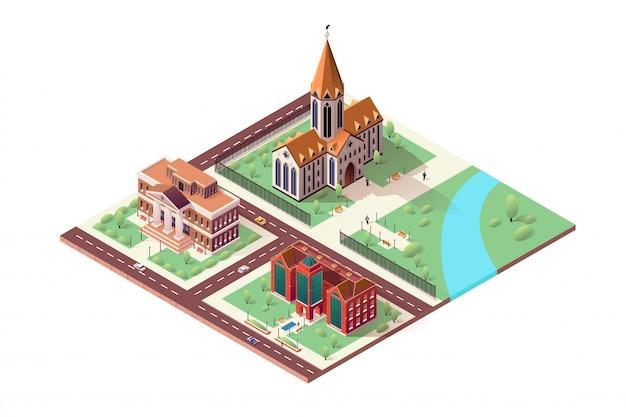 Illustratie met bibliotheek, kathedraal en museum.