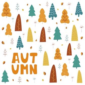 Illustratie met bomen, bladeren en hand belettering herfst in cartoon stijl.