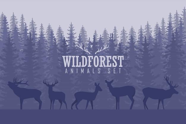 Illustratie met bomen en herten silhouetten