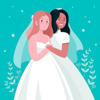 Illustratie met bruidspaar thema