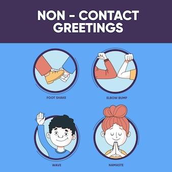 Illustratie met contactloze groeten