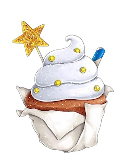 Illustratie met cupcake, stervormige koekjes en cocktailbuis