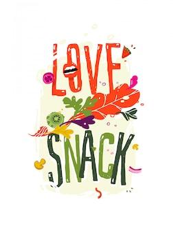 Illustratie met de inscriptie liefde snack.