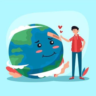 Illustratie met de planeet redden