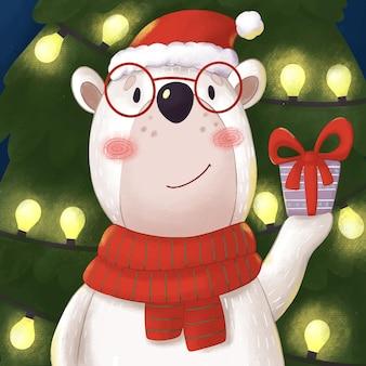 Illustratie met een cartoon-ijsbeer die een geschenk vasthoudt bij de kerstboom
