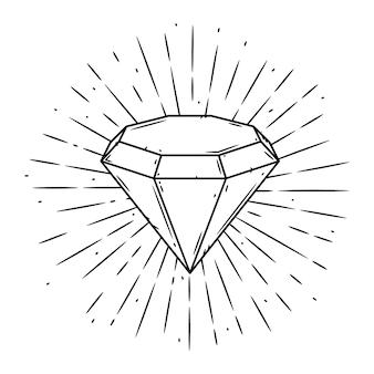 Illustratie met een diamant en uiteenlopende stralen op blackboard.