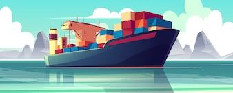 Illustratie met een droogvrachtschip op zee, oceaan. Commerce verzending, levering van goederen.