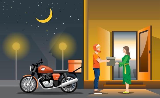 Illustratie met een motorfiets op straat 's nachts en een bezorger die een bestelling geeft aan een meisje.