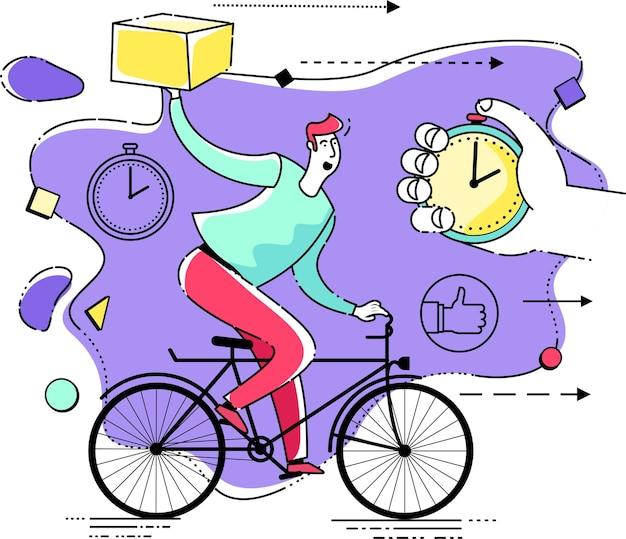 Illustratie met een personage: een persoon bezorgt snel een pakket of pizza. snelle bezorging van eten, online winkelen.