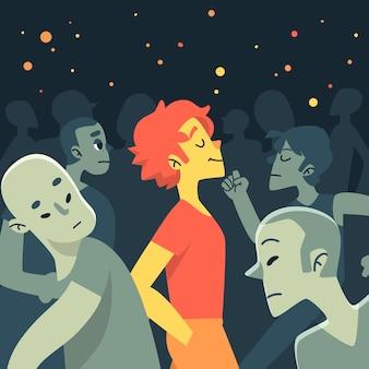 Illustratie met een persoon die in menigte glimlacht