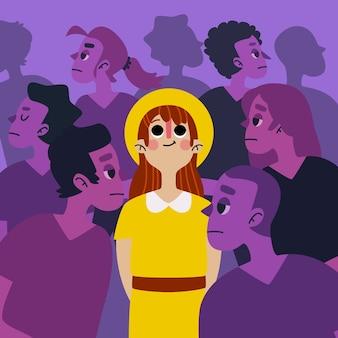 Illustratie met een persoon die in menigteconcept glimlacht