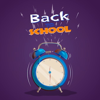 Illustratie met een rinkelende wekker. terug naar school. plat ontwerp. vector illustratie