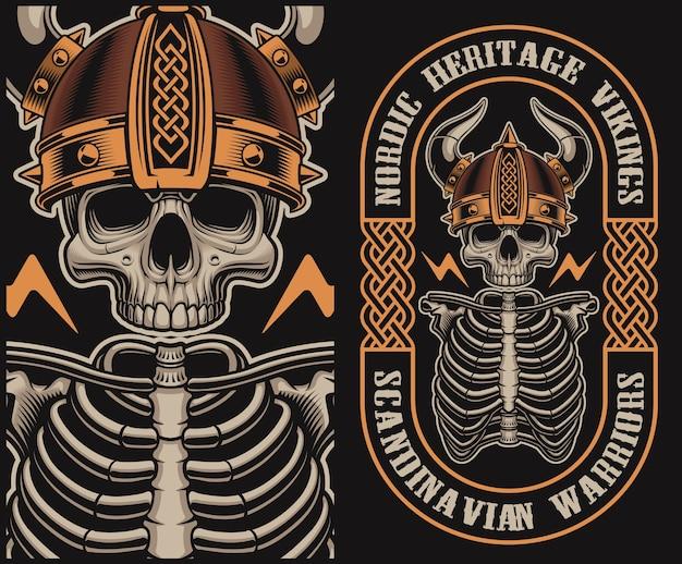 Illustratie met een schedel van viking op een donkere achtergrond.