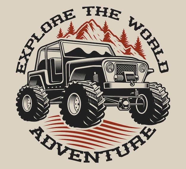 Illustratie met een suv op een lichte achtergrond. perfect voor hemden.