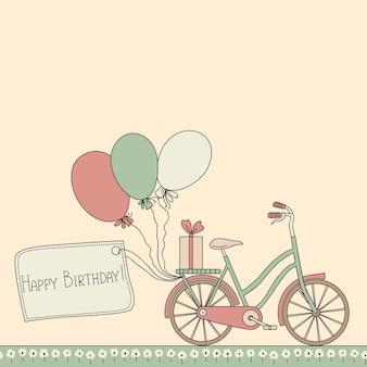 Illustratie met fiets, ballonnen en gelukkige verjaardagskaart.