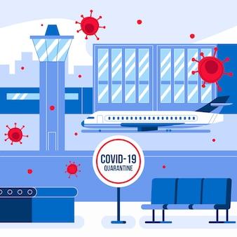 Illustratie met gesloten luchthaven