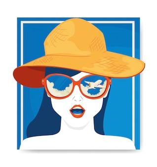 Illustratie met gezicht van vrouw met hoed reizen