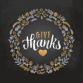 Illustratie met give thanks-letters in bladerenkader. uitnodiging of feestelijke wenskaartsjabloon.