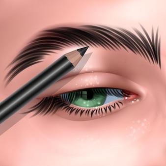 Illustratie met groen vrouwelijk oog en make-up wenkbrauwpotlood in realistische stijl