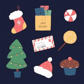 Illustratie met groene en rode kerstmiselementen.
