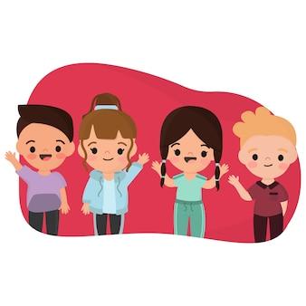 Illustratie met groep kinderen zwaaiende hand