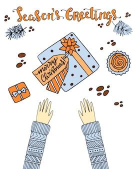 Illustratie met handen en geschenkdoos. kerst concept.