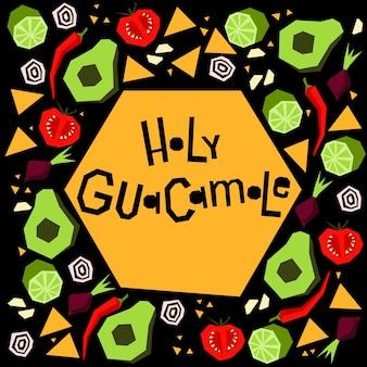Illustratie met handgeschreven zin heilige guacamole. nationale mexicaanse keuken.