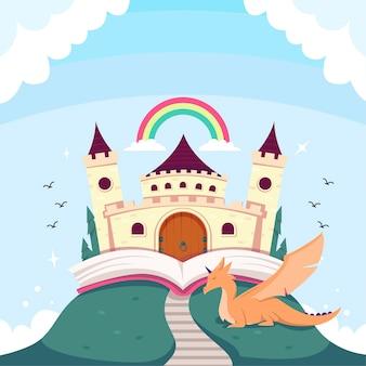 Illustratie met het concept van het sprookjeskasteel