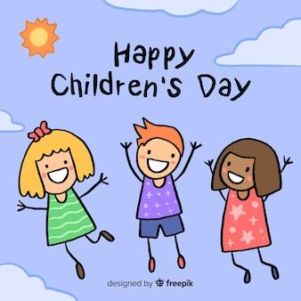 Illustratie met het gelukkige bericht van de kinderendag