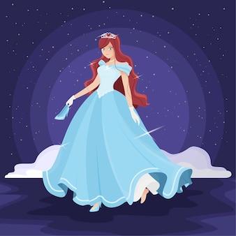 Illustratie met het thema van prinsesassepoester
