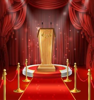 Illustratie met houten tribune met microfoons, podium, rode gordijnen en tapijt.